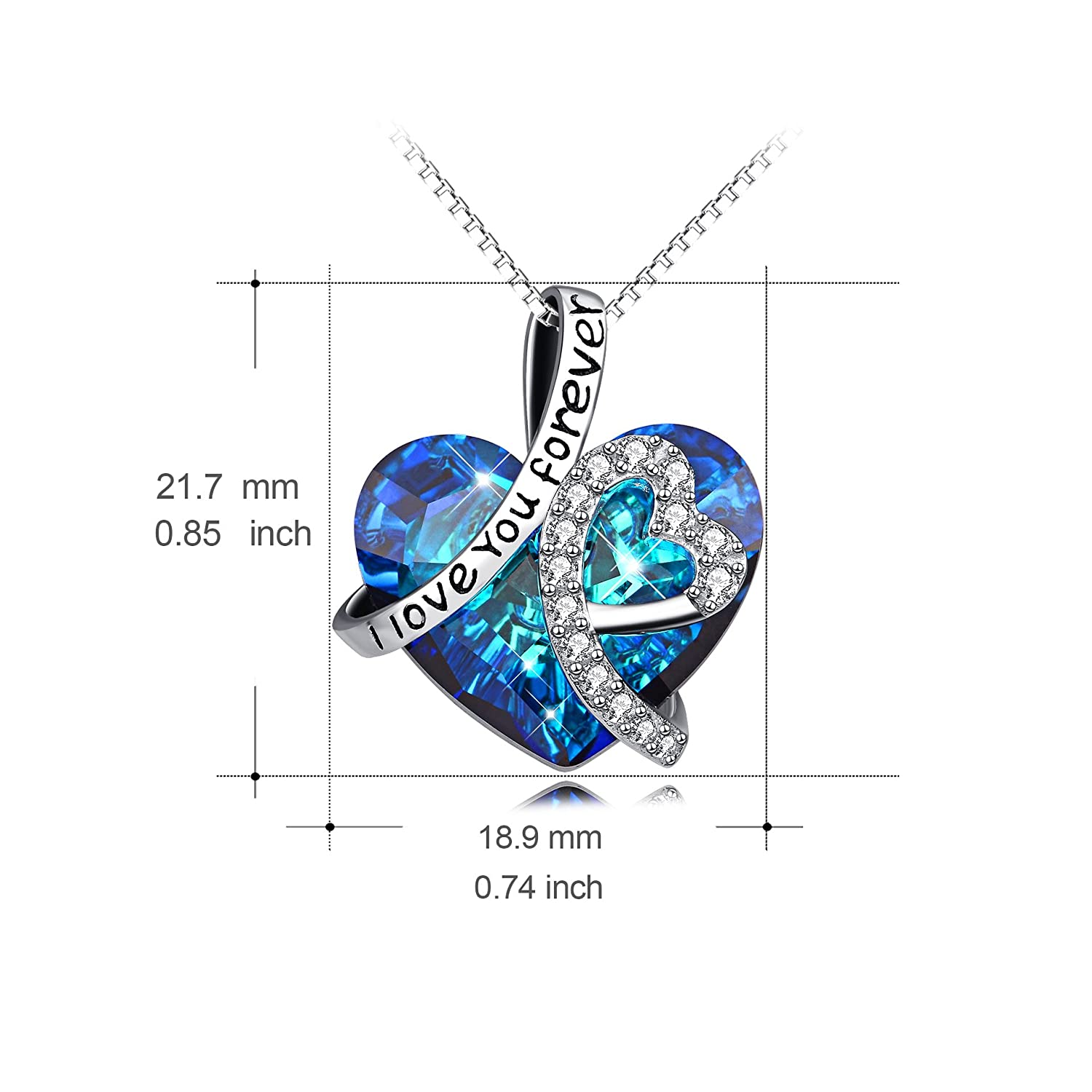 e024488bf Amazon.com: Heart Necklace 925 Sterling Silver I Love You Forever Pendant  Necklace with Blue Swarovski Crystals Jewelry for Women Anniversary  Birthday Gifts ...