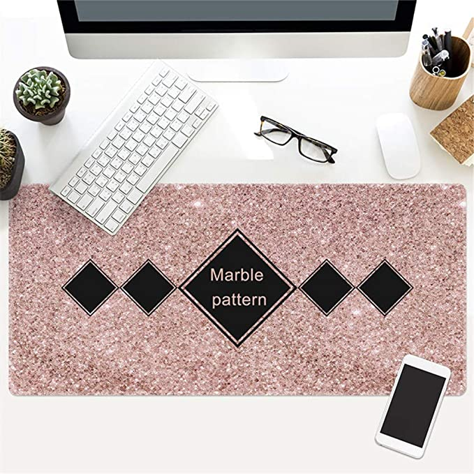 Wood Grain Marble Desk Pad Exquisite Speed Game,800x300mmx5mm SLM-max Mouse Pad Large Padded Waterproof Non-Slip Keyboard Pad