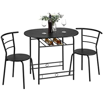 Kealive 3 Piece Kitchen Table Set Space Saving Dining Set Table and 2  Chairs with Metal Frame and Shelf Storage, Home Breakfast Table Bistro Pub  ...