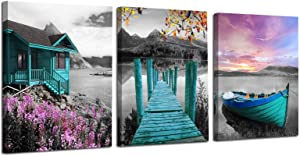 "Ardemy Canvas Wall Art Landscape Lake Painting Cabin Teal Purple Sail Boat Pictures Framed Modern Cottage Artwork for Living Room Bedroom Bathroom Kitchen Wall Decor, 12""x16""x3 Panels"
