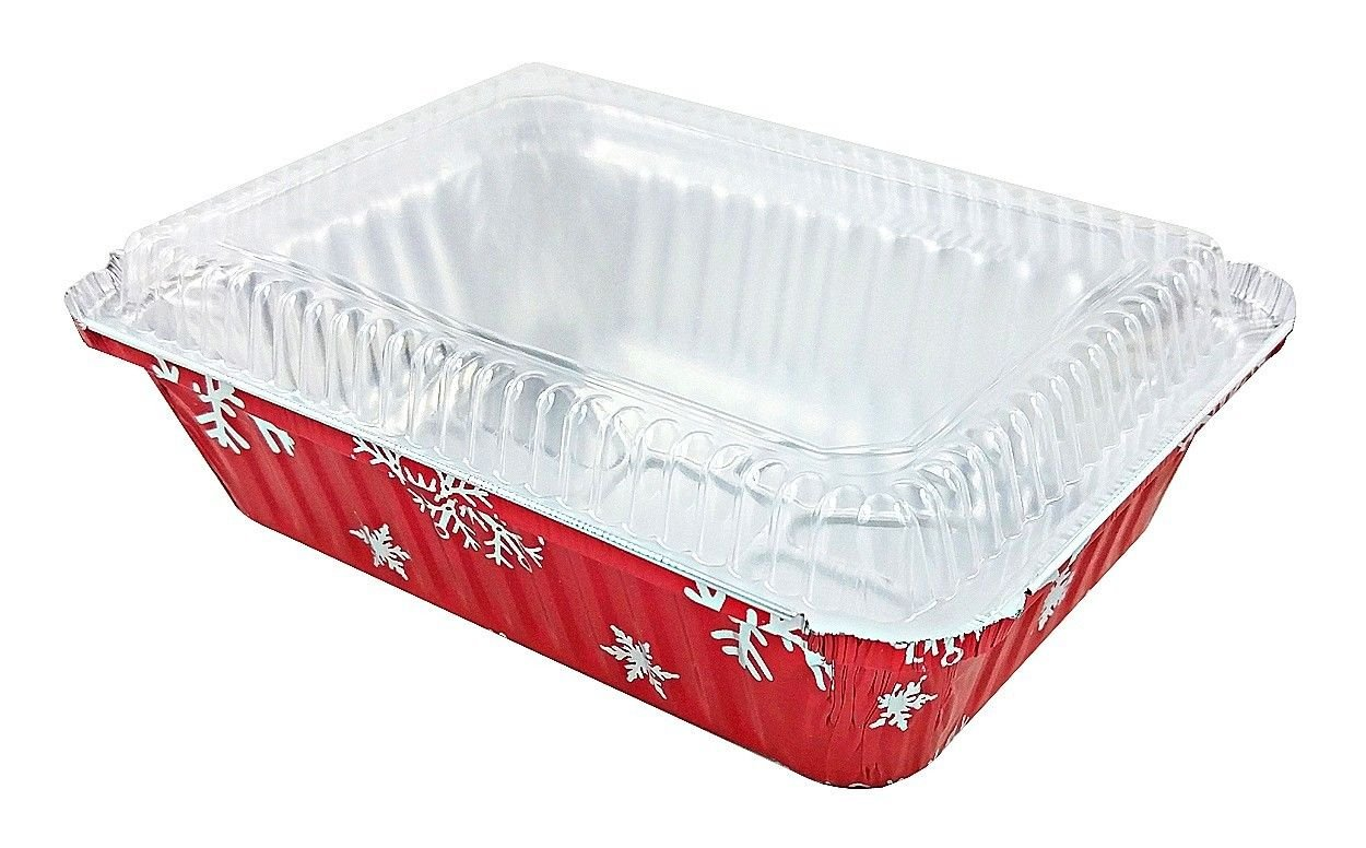 Durable Packaging 2 1/4 lb. Oblong Holiday X-Mas Foil Pan w/Clear Dome Lid - Red Aluminum (pack of 100)