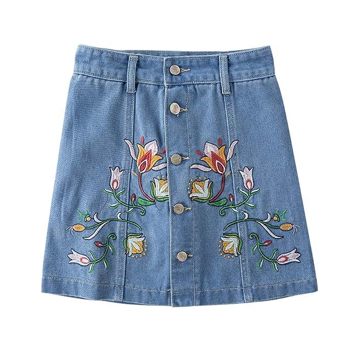 Daytwork Mini Faldas Vaquera Mujer - Mujeres Cintura Alta Botón ...