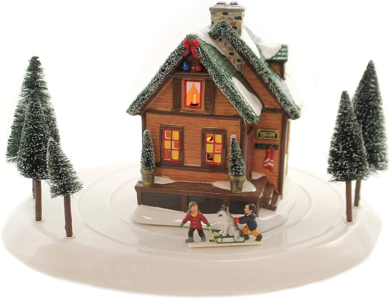 Department 56 Village Accessories Winter Wonderland Cabin Lighted Buildings, 8.66-inch Height