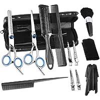 Nabance 13PCS Juego de Tijeras para Cortar el Cabello Kit de Peluquería Profesional Adelgazar Hair Razor Comb Clips Cape…