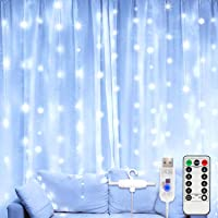 Window Curtain String Light 300 LEDs USB Powered Waterproof Fairy Lights 8 Lighting Modes Remote Control Lights for…