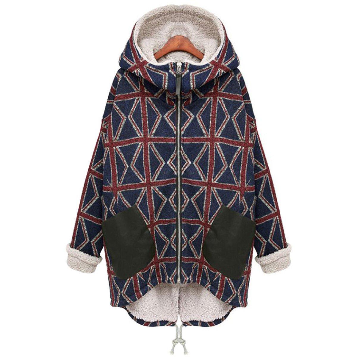 FZHLY Europa Y Los Estados Unidos Sección Larga De Loose Hooded Coat,XL