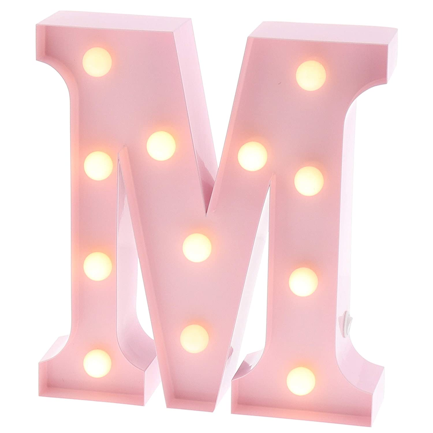 "Barnyard Designs Metal Marquee Letter M Light Up Wall Initial Nursery Letter, Home and Event Decoration 9"" (Baby Pink)"