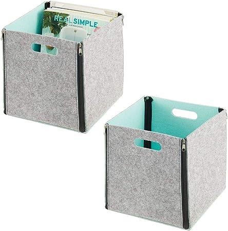 mDesign Juego de 2 organizadores de armario con asas – Caja de tela cuadrada para armario o estantería – Caja de almacenaje plegable con cremalleras – gris claro y verde menta: Amazon.es: Hogar