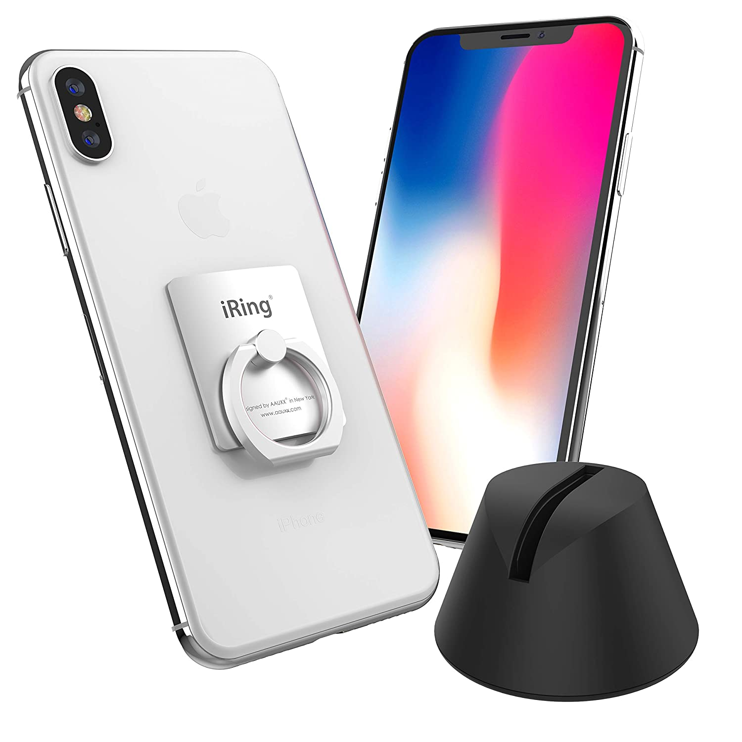 iPhone 8//8 Plus Cell Phone Cradles Phone Ring Holder Accessory for iPhone Xs Other Android Smartphones and Tablets. Samsung Xs MAX Mounts /& Stands AAUXX iRing with Dock