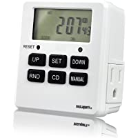 Digital Programmable Timer TUE-19 with 7 Day, Dual Outlet, 3 Prong socket plug in for Heavy Duty, Indoor Use 1 Pack Instapark