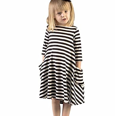 Minetom Minetom Sommer Kinder Mädchen Prinzessin Shirts Kleider Süß Schwarz  Weiß Gestreiften Rundhals Langarm Sommerkleid Partykleid Kleider   Amazon.de  ... e432789599