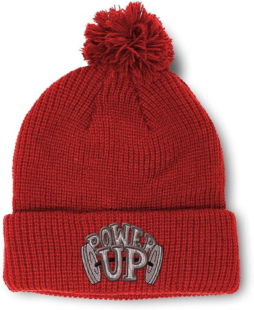 Winter Pom Pom Beanie Men /& Women Weightlifting Power up B Embroidery 1 Size