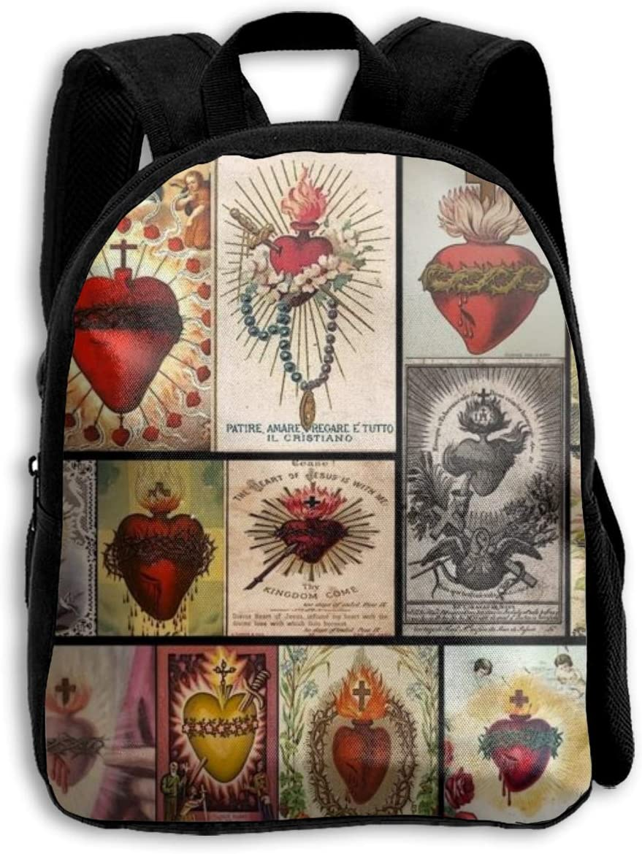 Sacred Heart Collage Jesus Christ Heart Cross Cover Art Religious School Backpack Children Shoulder Daypack Kid