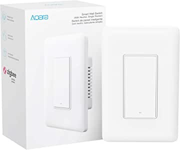 Aqara Smart Wall Switch (with Neutral, Single Rocker), Requires AQARA HUB, Zigbee Switch, Remote Control and Set Timer for Home Automation, Compatible with Alexa, Apple HomeKit, Google Assistant