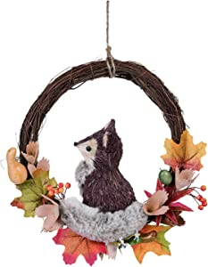 Orchid & Ivy Charming Autumn Twig Wreath with Animal Character – Fall Wreath for Front Door (Fox)