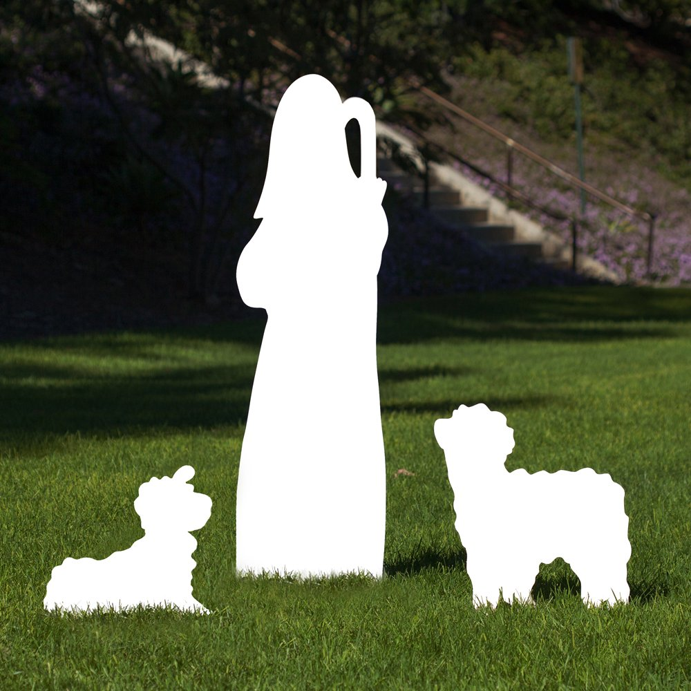 Outdoor Nativity Store Outdoor Nativity Set Add-on - Shepherd and Sheep (Life-size, White)