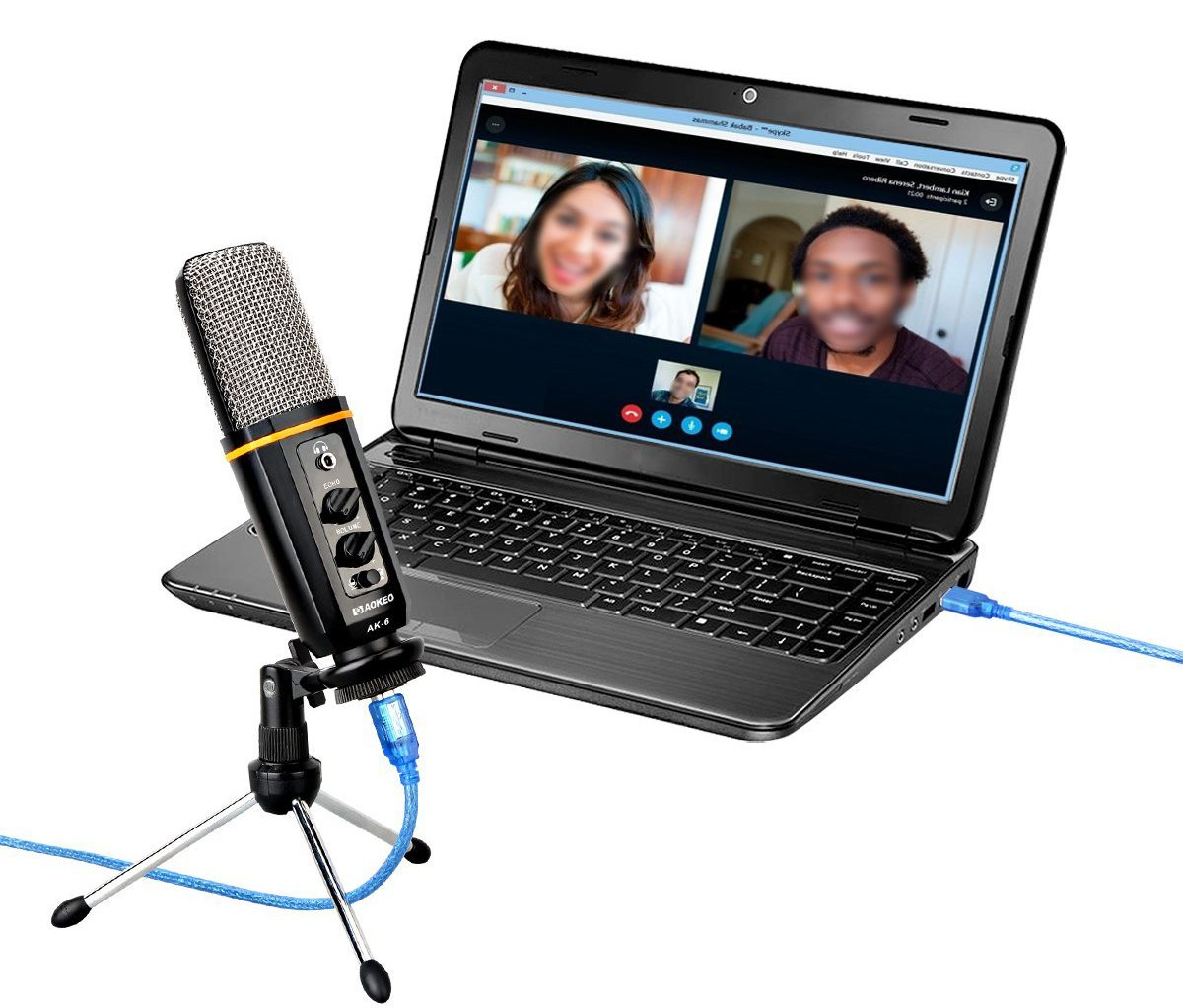 Aokeo's AK-6 Desktop USB Condenser Microphone, Best For Live Podcasting, Broadcasting, Skype, YouTube, Recording, Singing, Streaming, Video Call, Conference, Gaming, Etc. With Mount Stand, Plug & Play by aokeo (Image #3)
