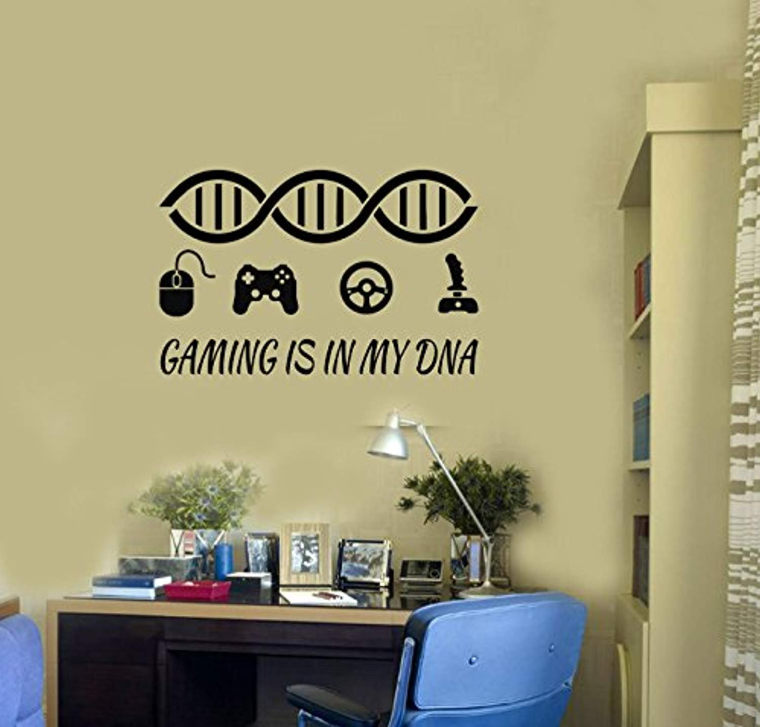 Amazon.com: Gamer Quote Vinyl Wall Decal Gaming DNA Art Gamepads ...