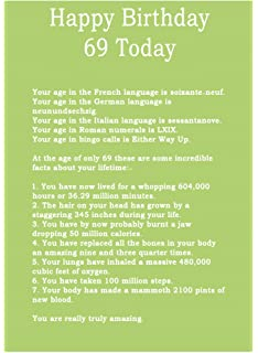 Age 69 Body Facts Birthday Card