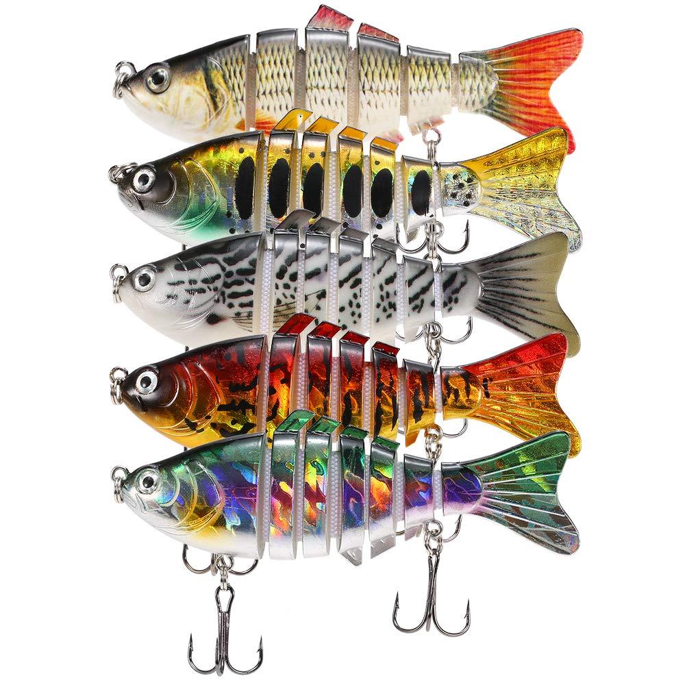 Lixada 5Pcs Fishing Lure Set with Storage Box Multi Jointed Segment Swimbait Lifelike Hard Bait Crankbait Treble Hooks for Bass Perch Trout by Lixada