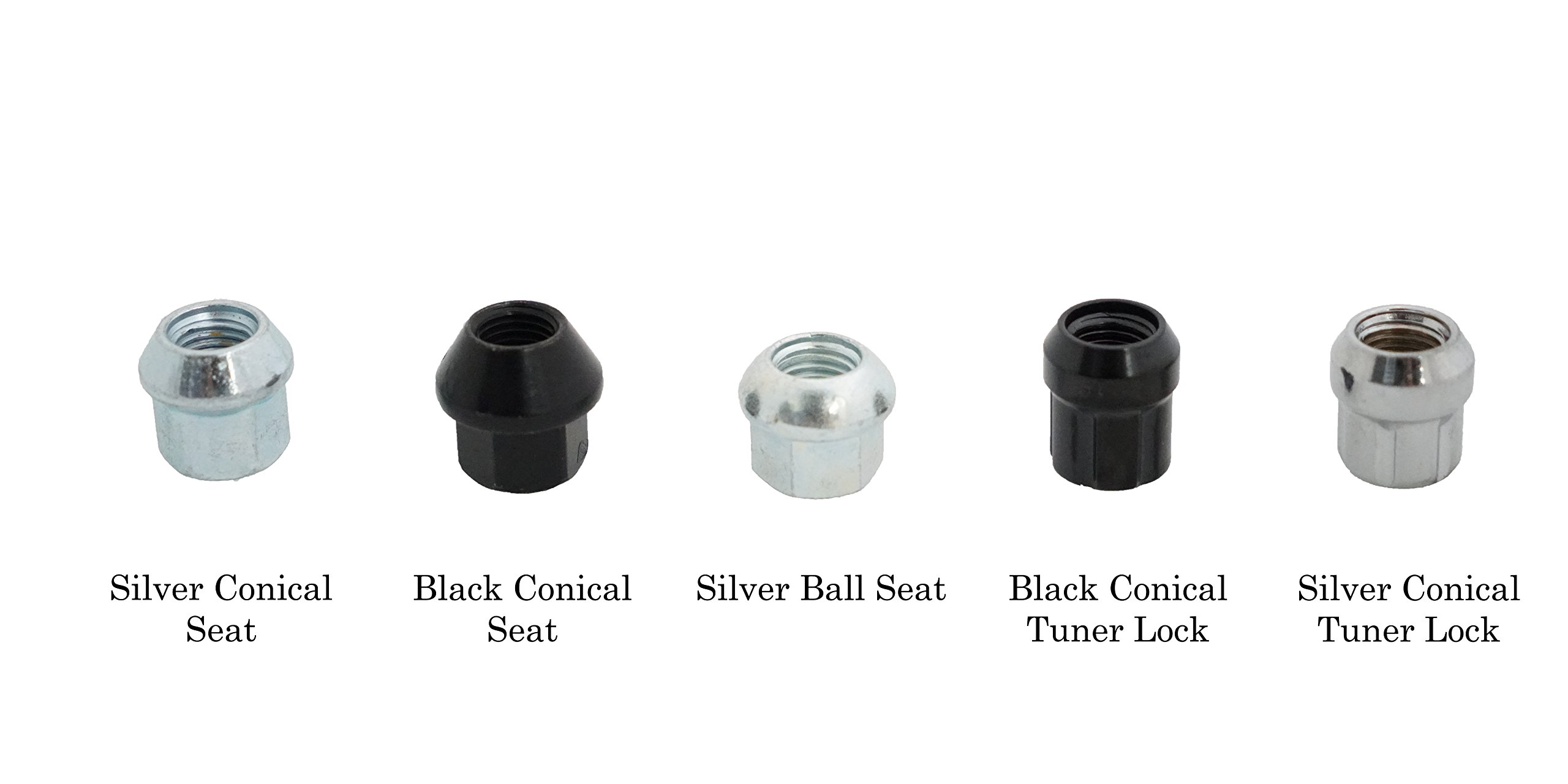Motorsport Hardware Stud Conversion 4 LUG 78mm Length (14x1.25 to 14x1.5) with Silver Conical Seat Nuts by Motorsport Hardware (Image #2)