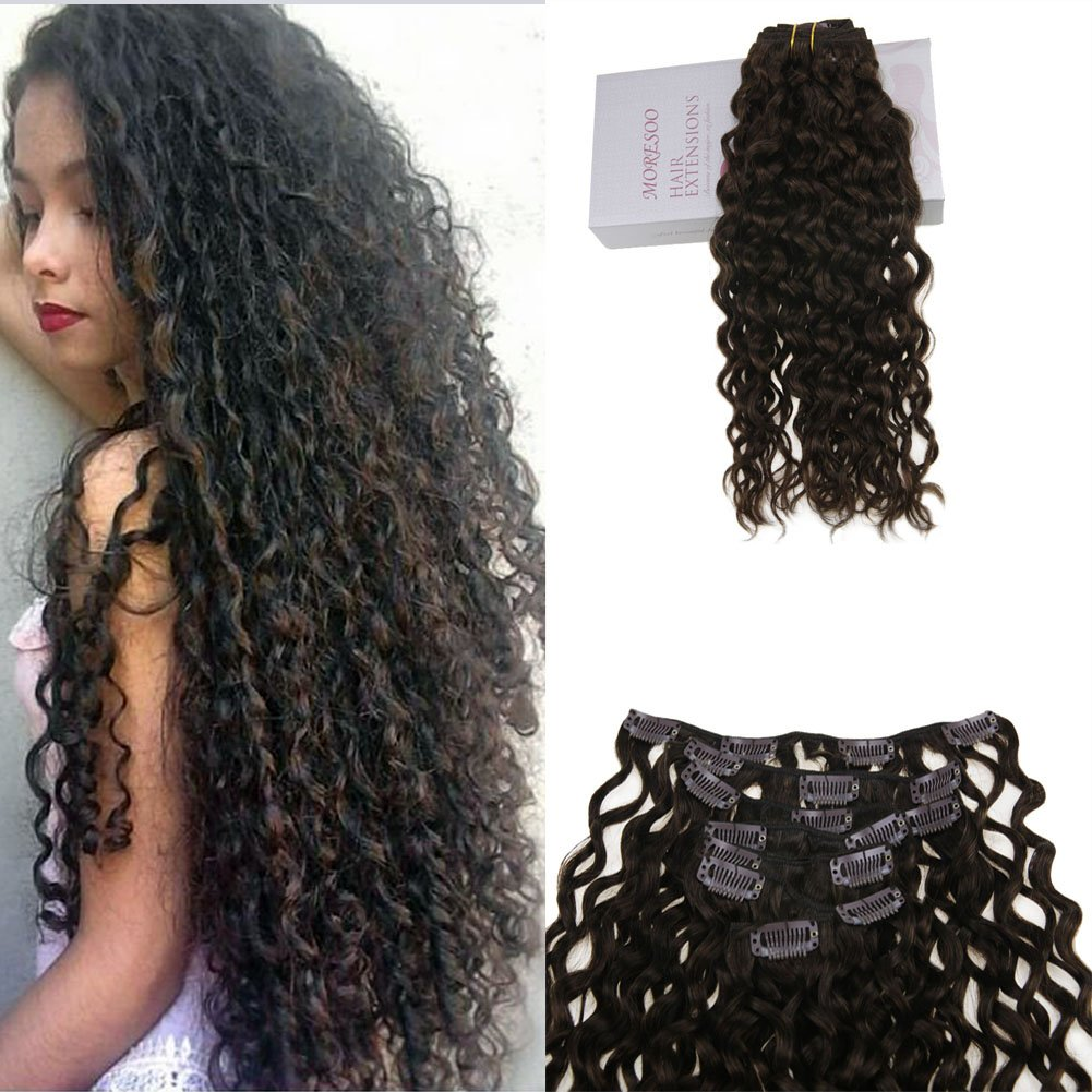 Amazon Moresoo 18 Inch Clip In Human Hair Extensions Natural