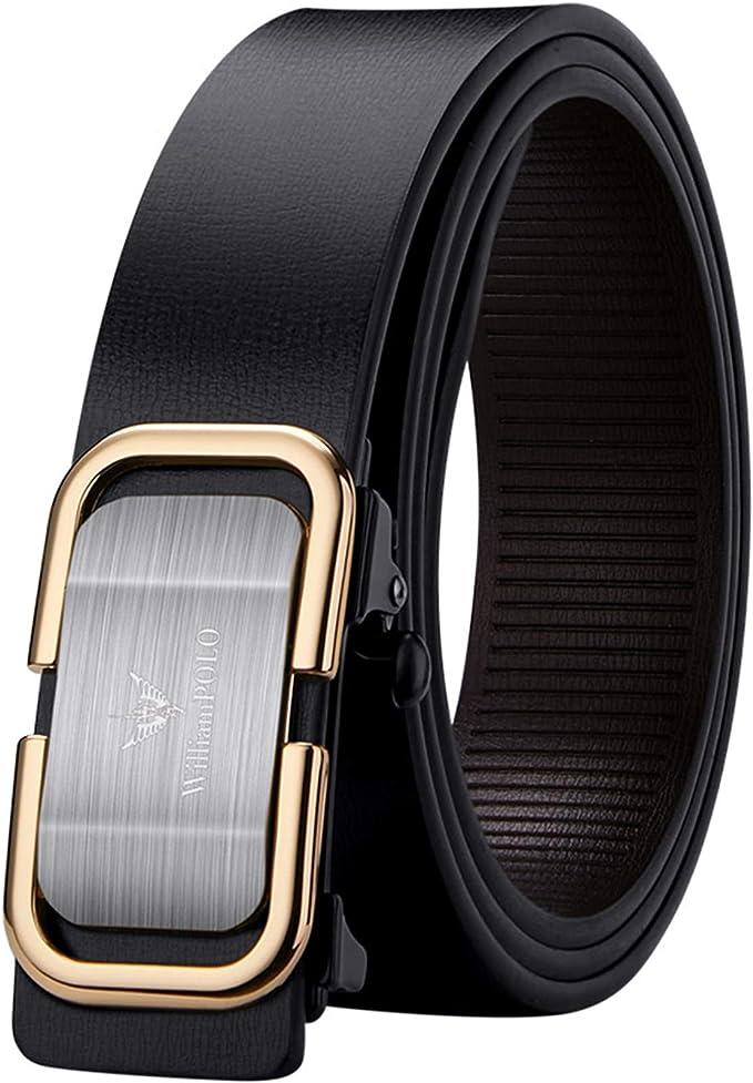 Xhtang Cintur/ón de piel ajustable con trinquete autom/ático para hombre