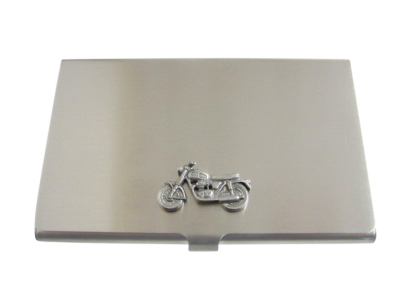 Silver Toned Texturedクラシックオートバイビジネスカードホルダー   B06Y51576X