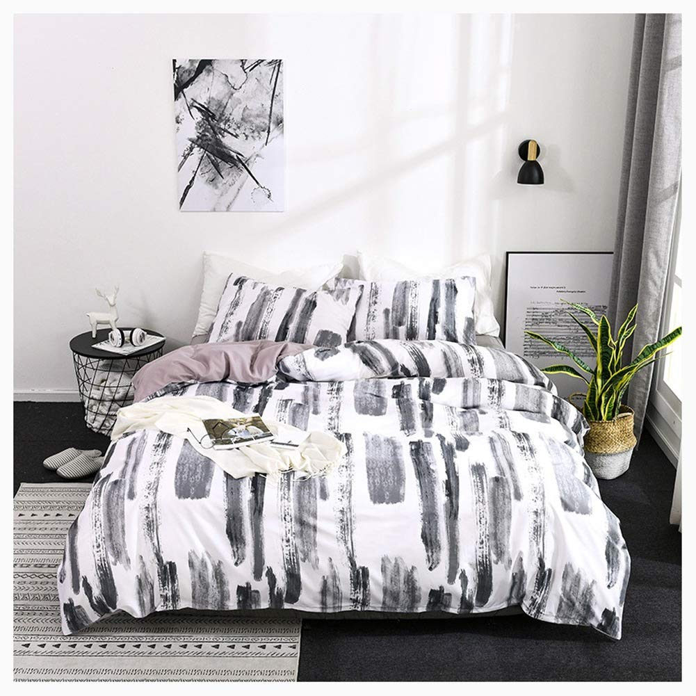 Bedding Duvet Cover Set Duvet Cover and Pillowcase Quilt Bedding Set with Pillowcases Polyester Duvet Protector Digital Printing Nordic 4 Styles (Color : A, Size : 150X200CM) by OZYN-Duvet Covers