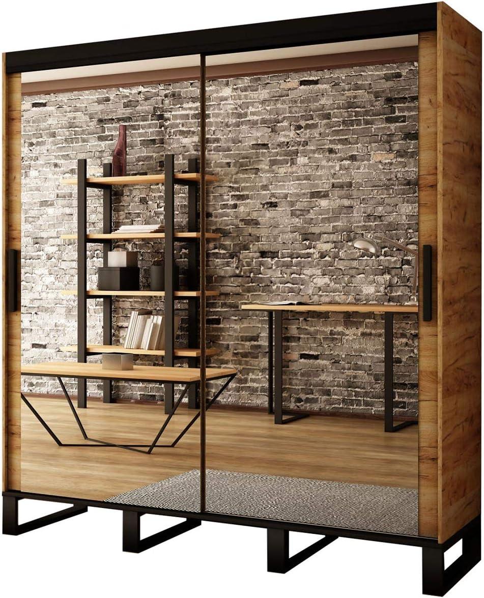 Mirjan24 Armario de puertas correderas Ultra T3, práctico armario con cajones, espejos, percheros elegantes y mucho espacio para dormitorio, armario, vestíbulo, habitación juvenil