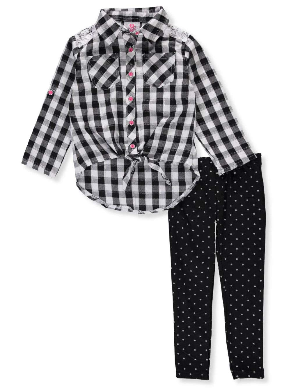 Real Love Little Girls' 2-Piece Leggings Set Outfit - Black/Multi, 6X