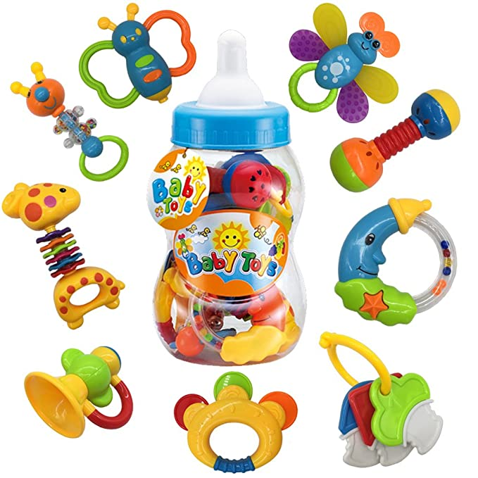 Fiouni Juguetes de mordedor para bebé sonajero Conjunto primeros sonajeros para bebé Conjunto de regalo para bebé bebés primer bebé 9 piezas (Bzul): ...