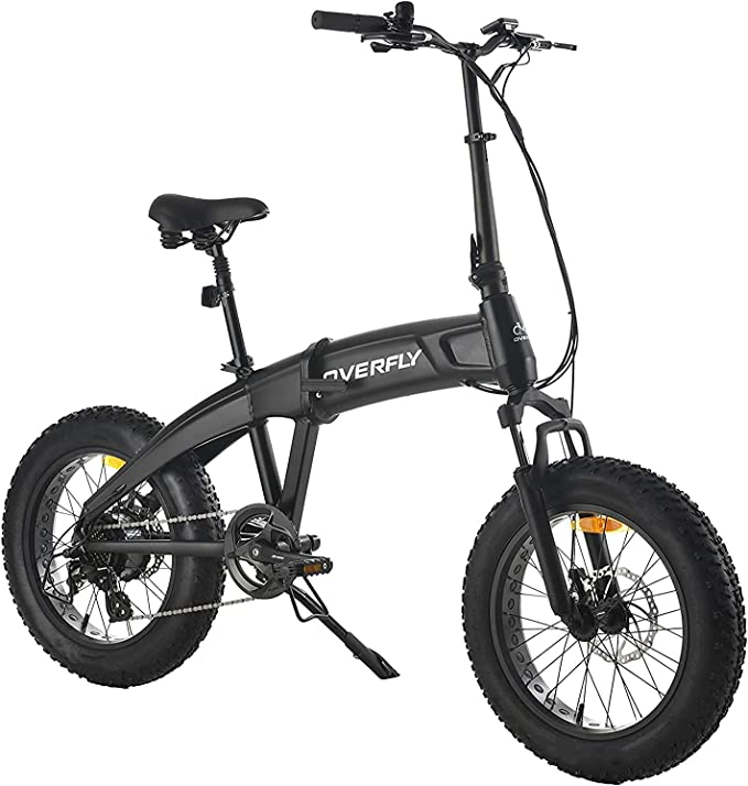 """Overfly Hummer 20""""x4""""Fat Tire Electric Folding Bike for Commuter with 750W Bafang Motor, 48V/10.4A Battery, 7 Speed, 204.0 Fat Tire Ebike Front Suspension Fork"""