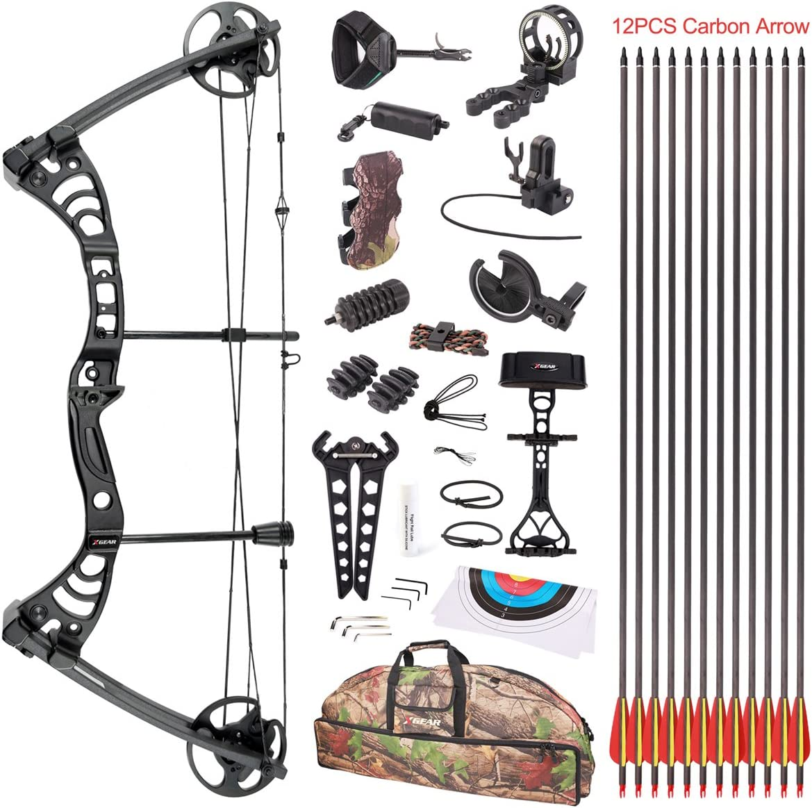 """Leader Accessories Compound Bow 30-55lbs 19"""" - 29"""" Archery"""