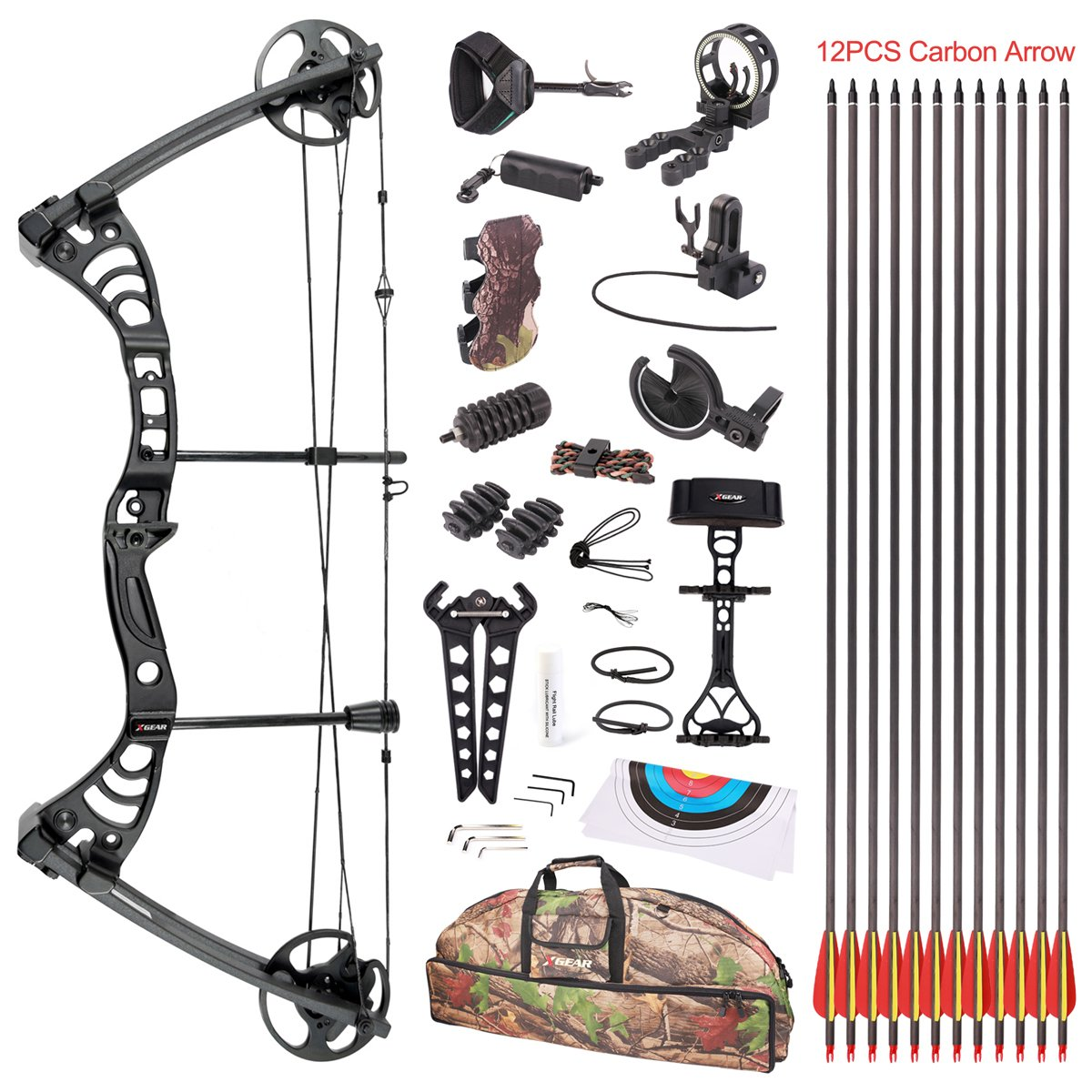 Leader Accessories Compound Bow 30-55lbs Archery Hunting Equipment with Max Speed 296fps (Black With Full Accessories)