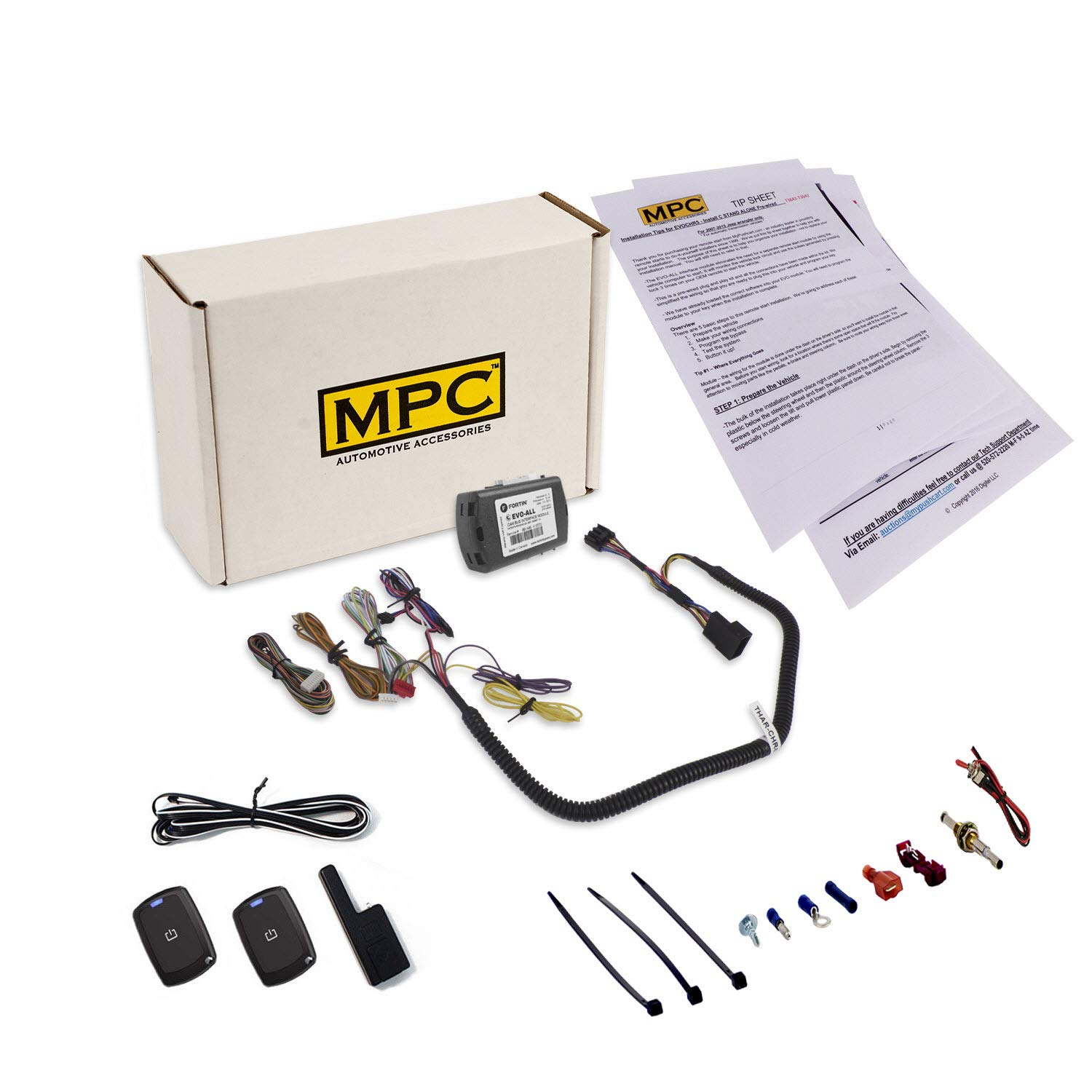 MPC Complete 1-Button Remote Start Kit for 2007-2018 Jeep Wrangler JK - T-Harness - Key-to-Start - Firmware Preloaded