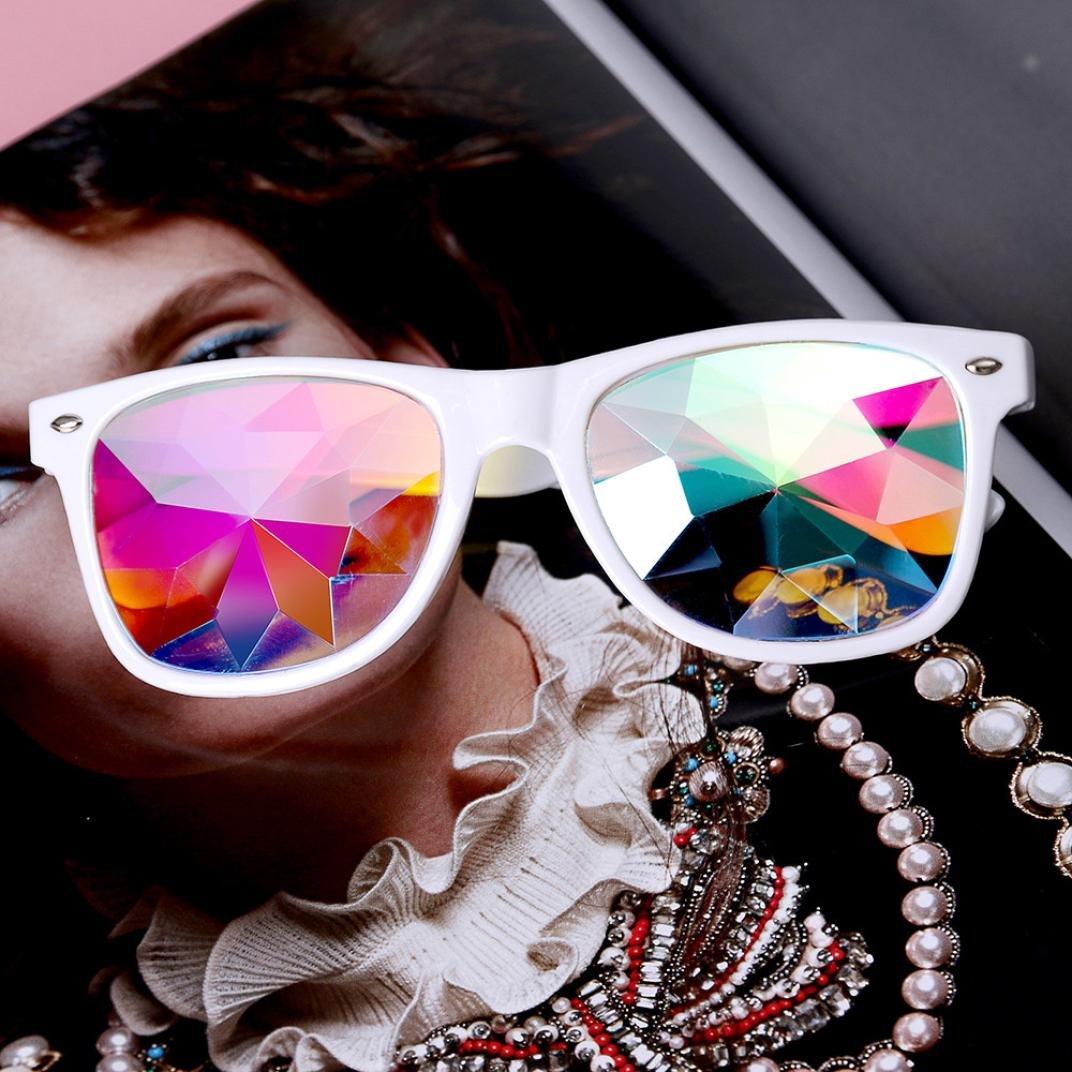 Chartsea Kaleidoscope Glasses Rave Festival Party EDM Sunglasses Diffracted Lens (White,B) by Chartsea (Image #2)
