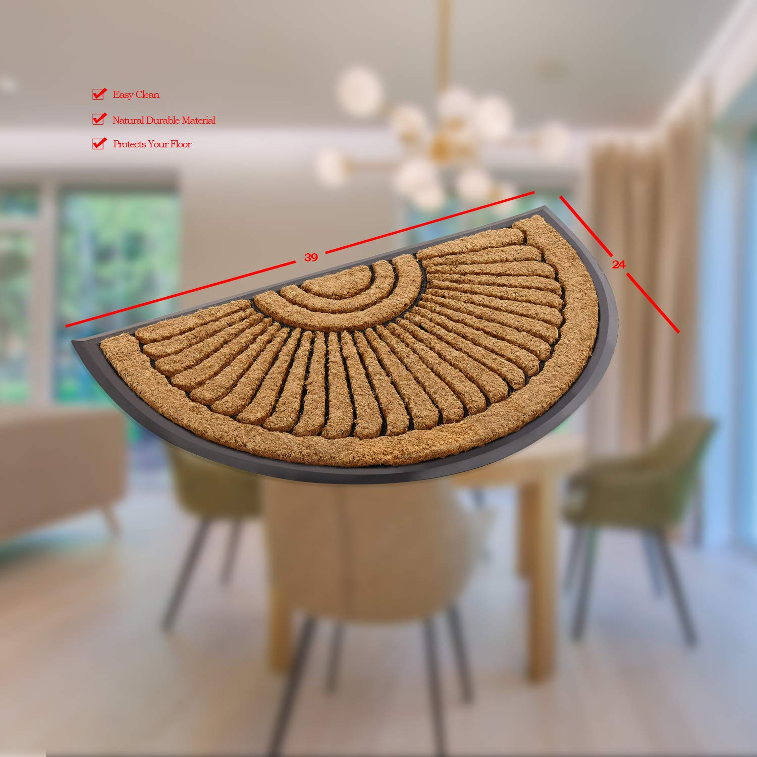 Kempf Coco Fiber Half Round in-Laid Doormat - Style Your Home from The Outside - Coco Coir Doormat 24'' X 39''