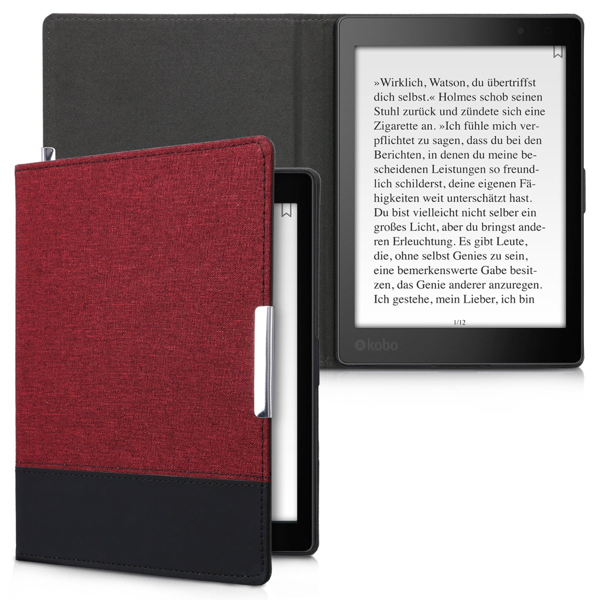 kwmobile Case for Kobo Aura ONE - PU Leather and Canvas Protective e-Reader Cover Folio Case - dark red black