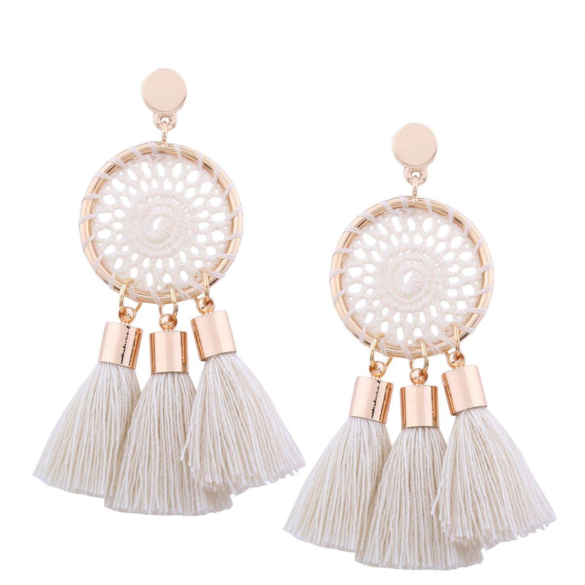 Tassel Earrings White Long Bohemian Geometric Dangle Earrings for Women