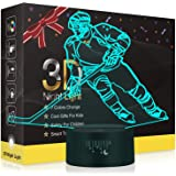 Hockey Night Light for Kids, Led Lights 3D Optical Illusion Lamp Bedroom Decor Lighting Nightlight with Smart Touch 7 Colors,