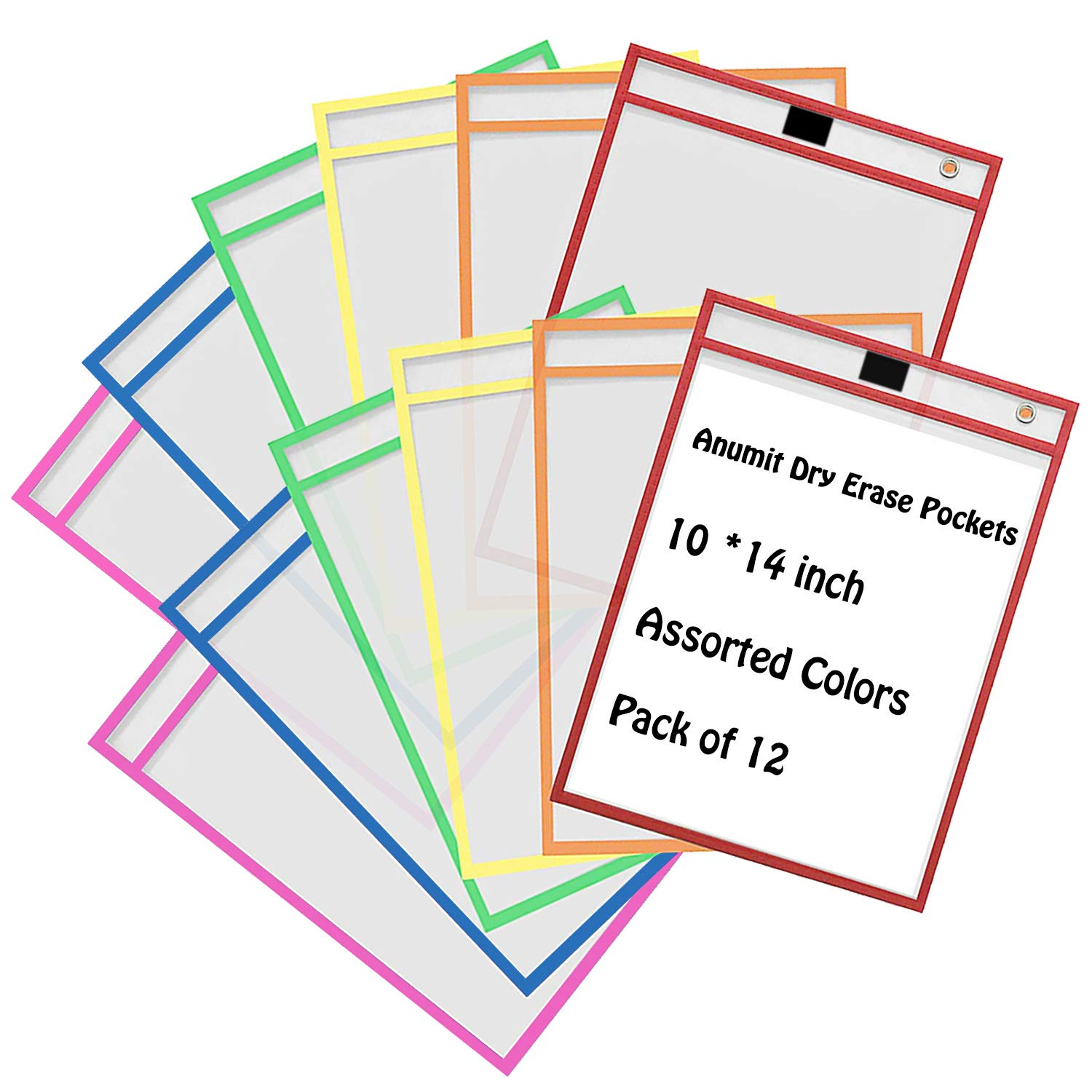 Dry Erase Pockets, Anumit Write and Wipe Reusable Sheet Protectors Plastic Sleeves for Office Learning Classroom Organization & Teaching Supplies,10 x 14 Inches (Assorted Colors Pack of 12)