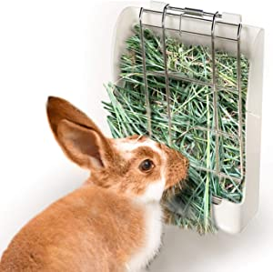 SunGrow Rabbit Hay Feeder Rack, 7x6 Inches, Mess-Free Food Dispenser, Keeps Hay, Alfalfa and Other Grasses Dry, Ideal for Guinea Pigs, Chinchillas and Hamsters, Easy to Install and Use, 1 Piece