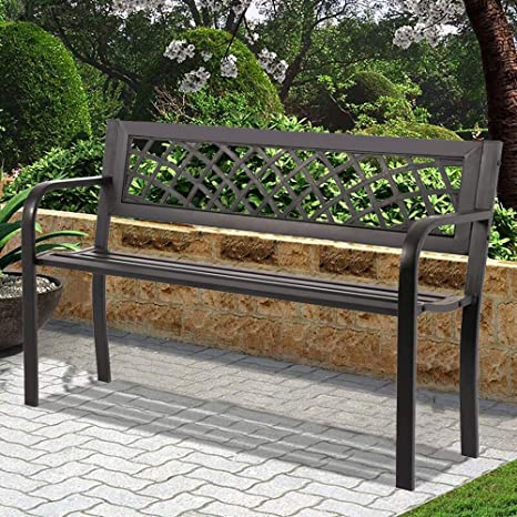 Swell Patio Bench Garden Bench Outdoor Bench Metal Porch Chair With Armrests Sturdy Steel Frame Furniture 480Lbs Weight Capacity For Park Yard Patio Deck Creativecarmelina Interior Chair Design Creativecarmelinacom