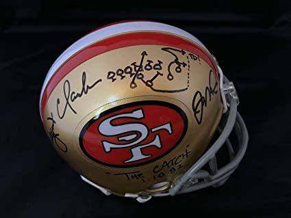 409def501 Joe Montana Dwight Clark signed mini helmet autograph Beckett Witnessed  I17522 - Beckett Authentication