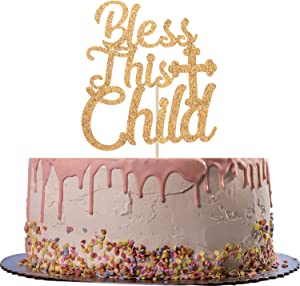 Gold Glitter Bless This Child Cake Topper-First Communion/Baby Shower Party Decorating-Cake Decorations Supplies for Kids