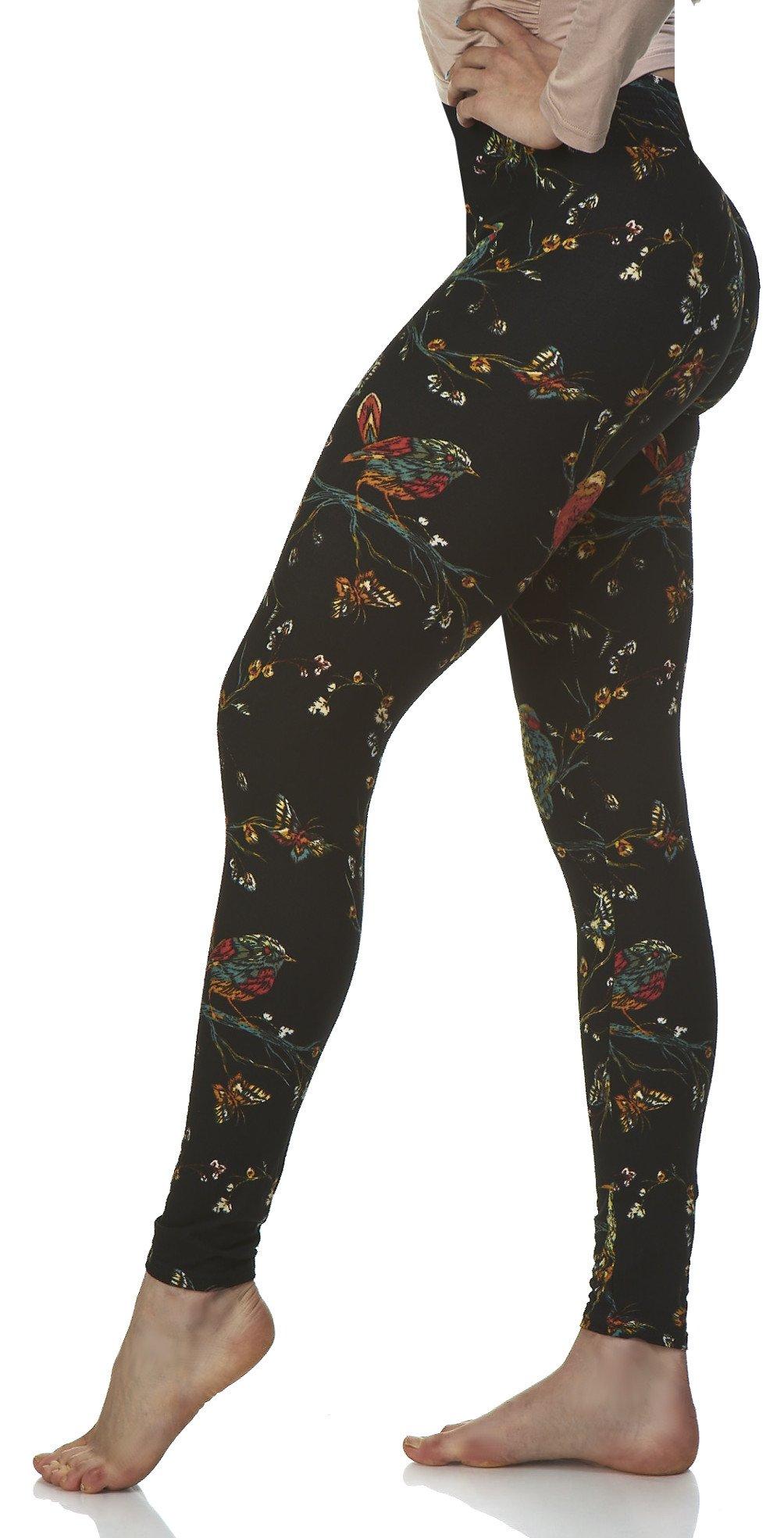 LMB Lush Moda Extra Soft Leggings with Designs- Variety of Prints - 778YF Birds Garden B6