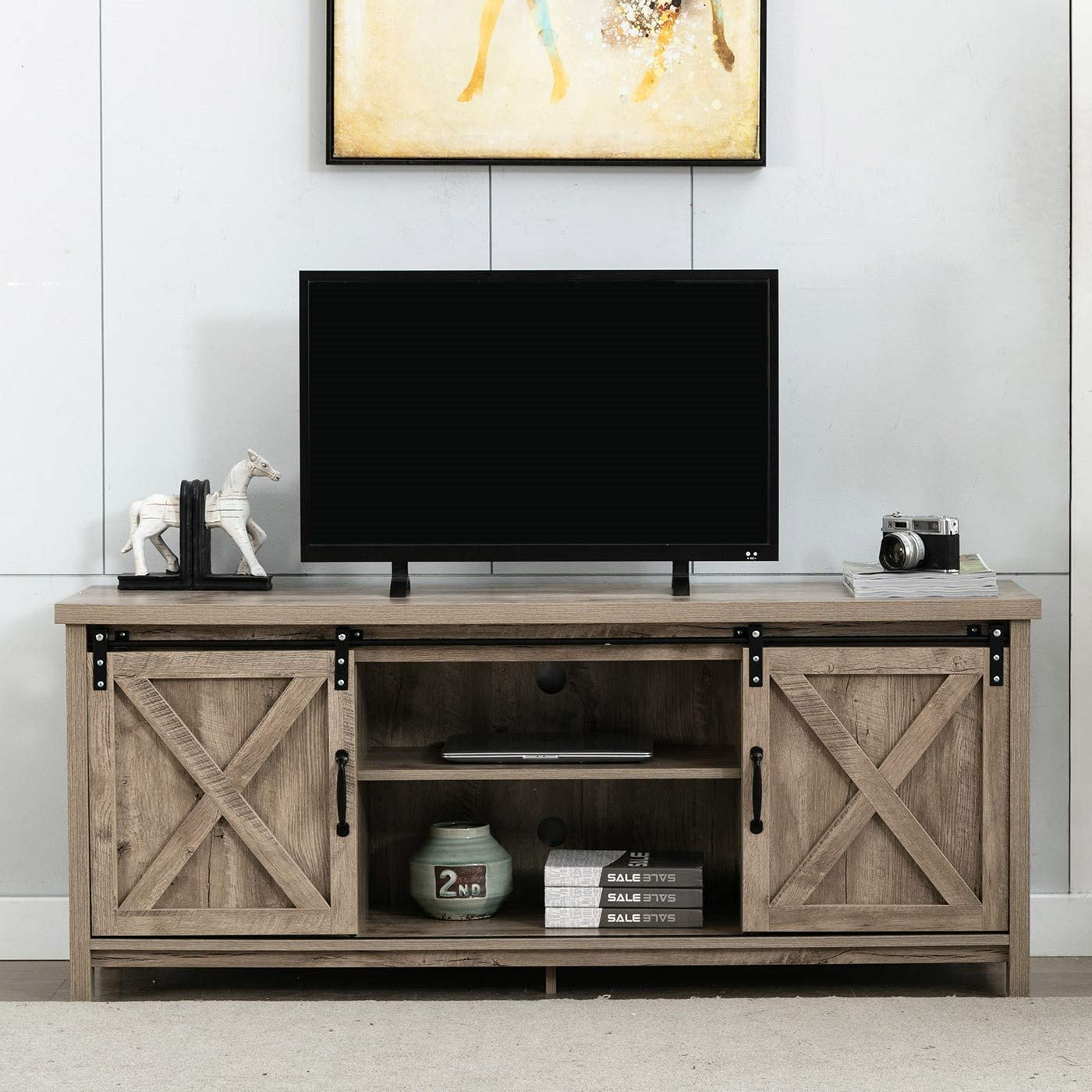 AUXSOUL Farmhouse Wood TV Stand with 2 Sliding Barndoorfor - Entertainment Center for 65 Inch TV Screen - Living Room Storage Cabinet - Tall Universal Stand, TV Table Media Furniture(Oak)