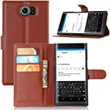 Ziaon Len Series Faux Leather Flip Stand Wallet Case with Credit Card Slots and Magnetic Slot for BlackBerry Priv (Brown)