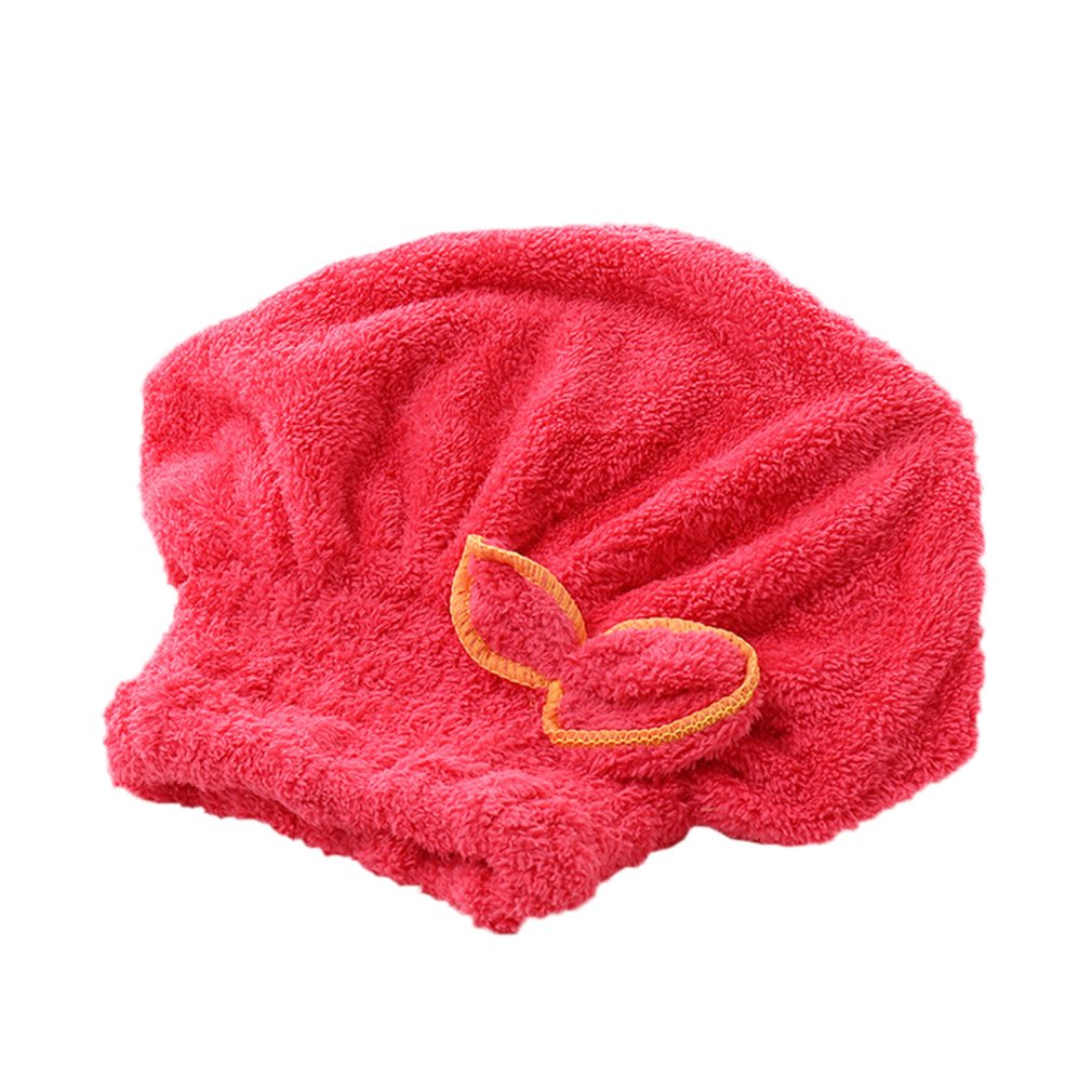 Lovely Bowknot Solid Hair Turban Quickly Dry Hair Hat Towel Head Wrap Hat Aszune